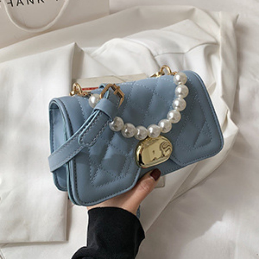 Lovely Casual Pearl Decoration Square Buckle Blue Crossbody Bag