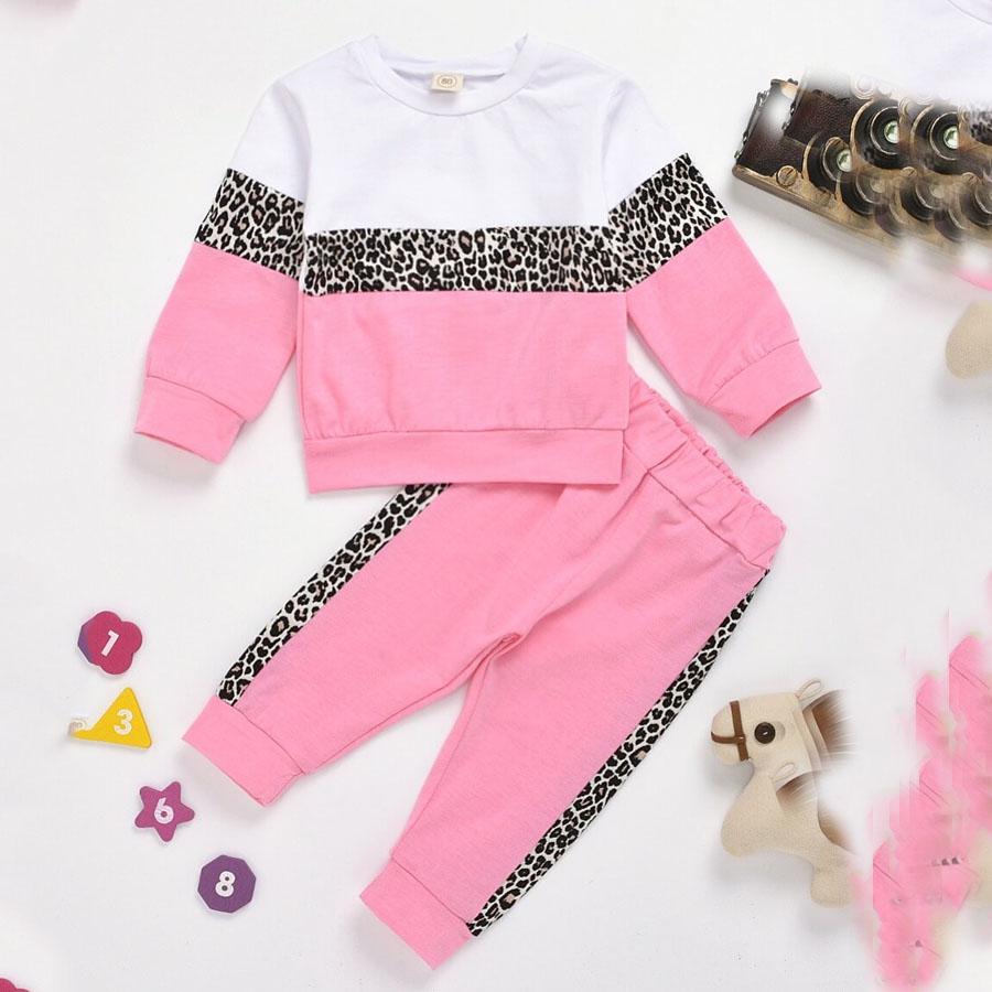 LW COTTON Girl Sportswear O Neck Leopard Print Patchwork Pink Two-piece Pants Set