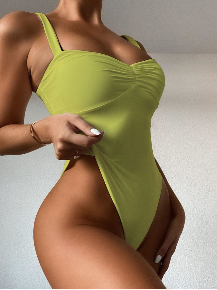 Lovely Boho U Neck Skinny Green One-piece Swimsuit