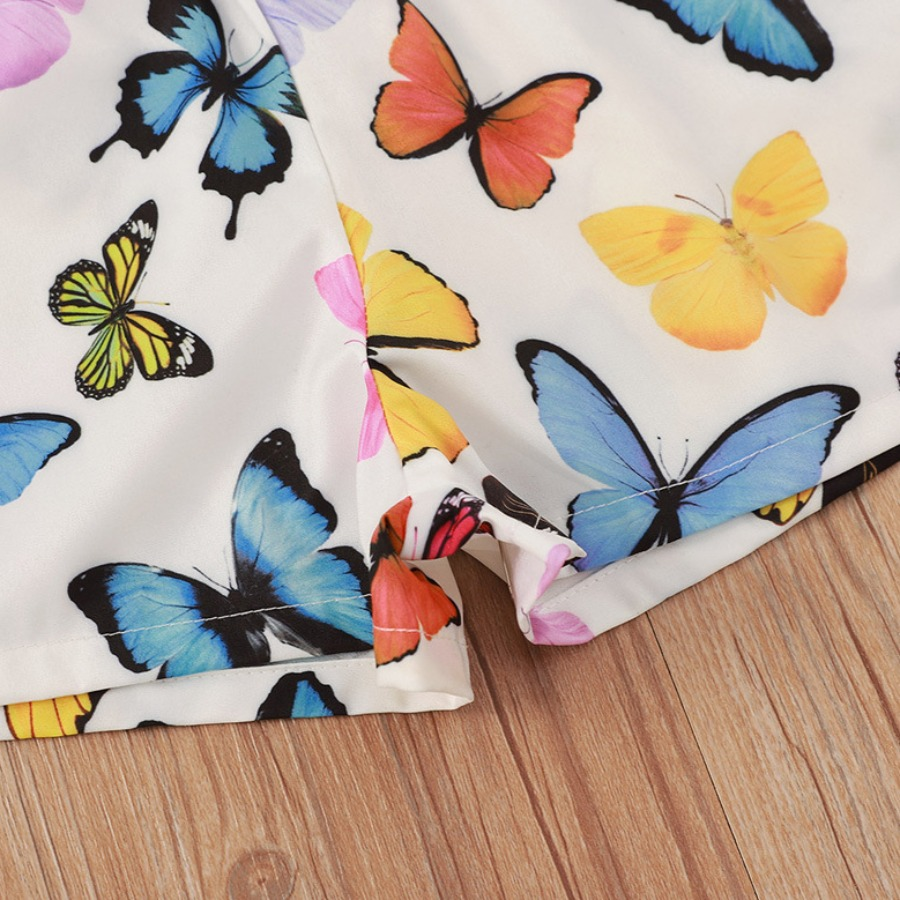 Lovely Girl Casual Butterfly Print Hollow-out White Two Piece Shorts Set