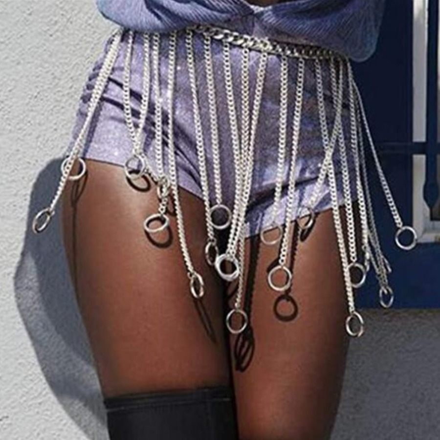 Lovelywholesale coupon: LW Street Tassel Design Silver Body Chain