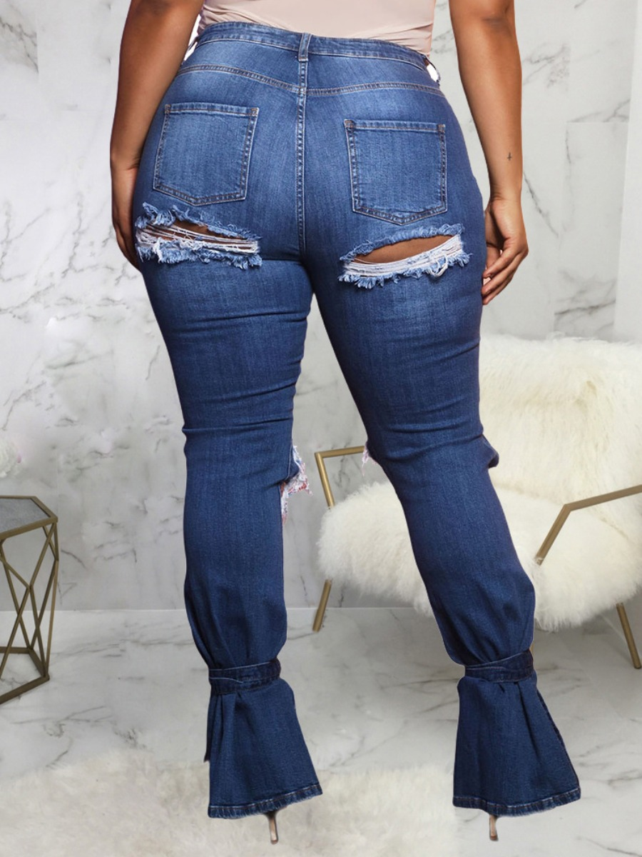 Lovely Street Broken Holes Slit Blue Jeans