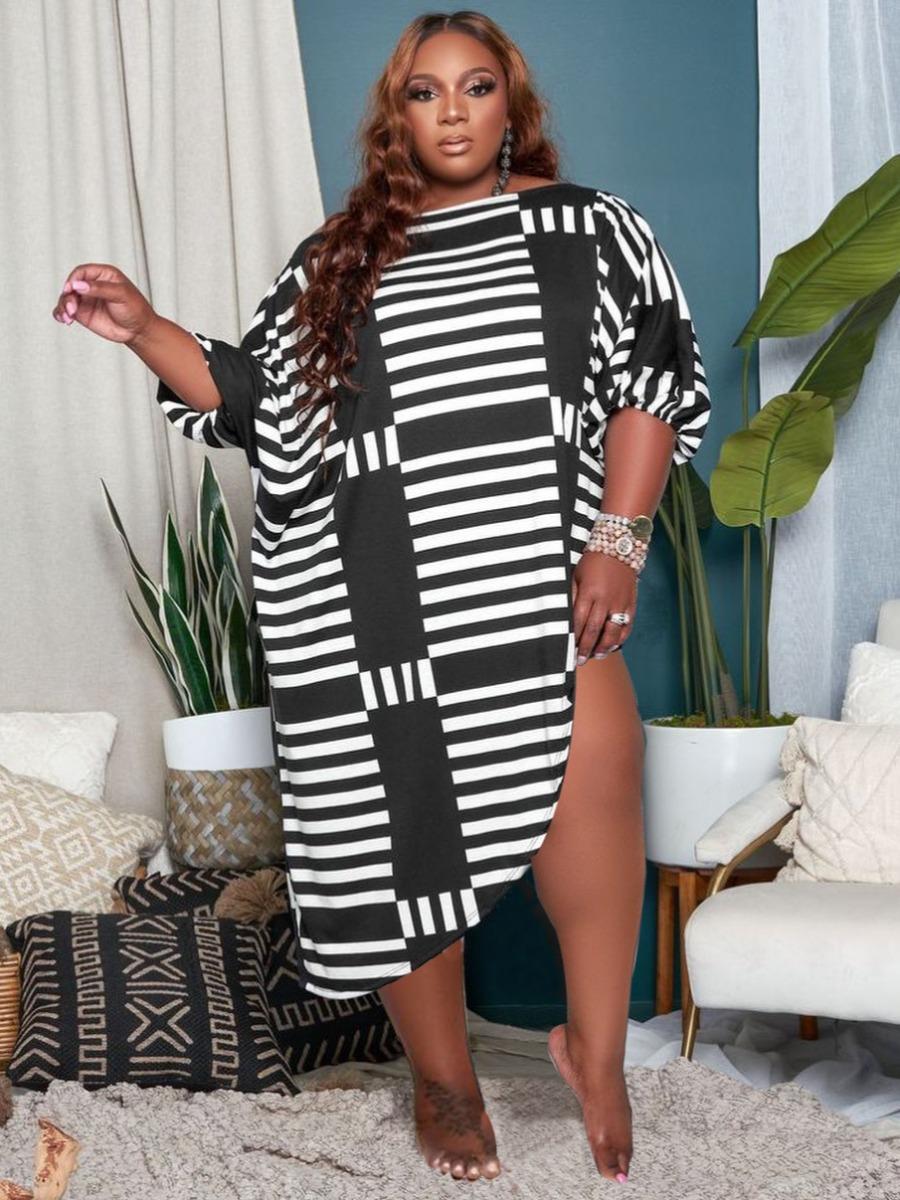 Lovely Plus Size Casual Geometric Print Patchwork Black Mini Asymmetrical Dress