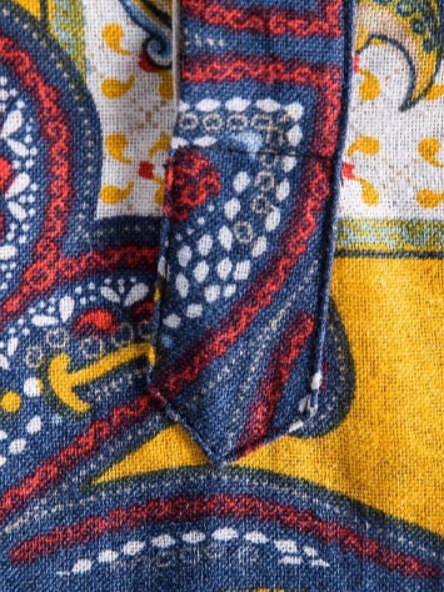 LW COTTON Men Boho Print Patchwork Multicolor Shirt