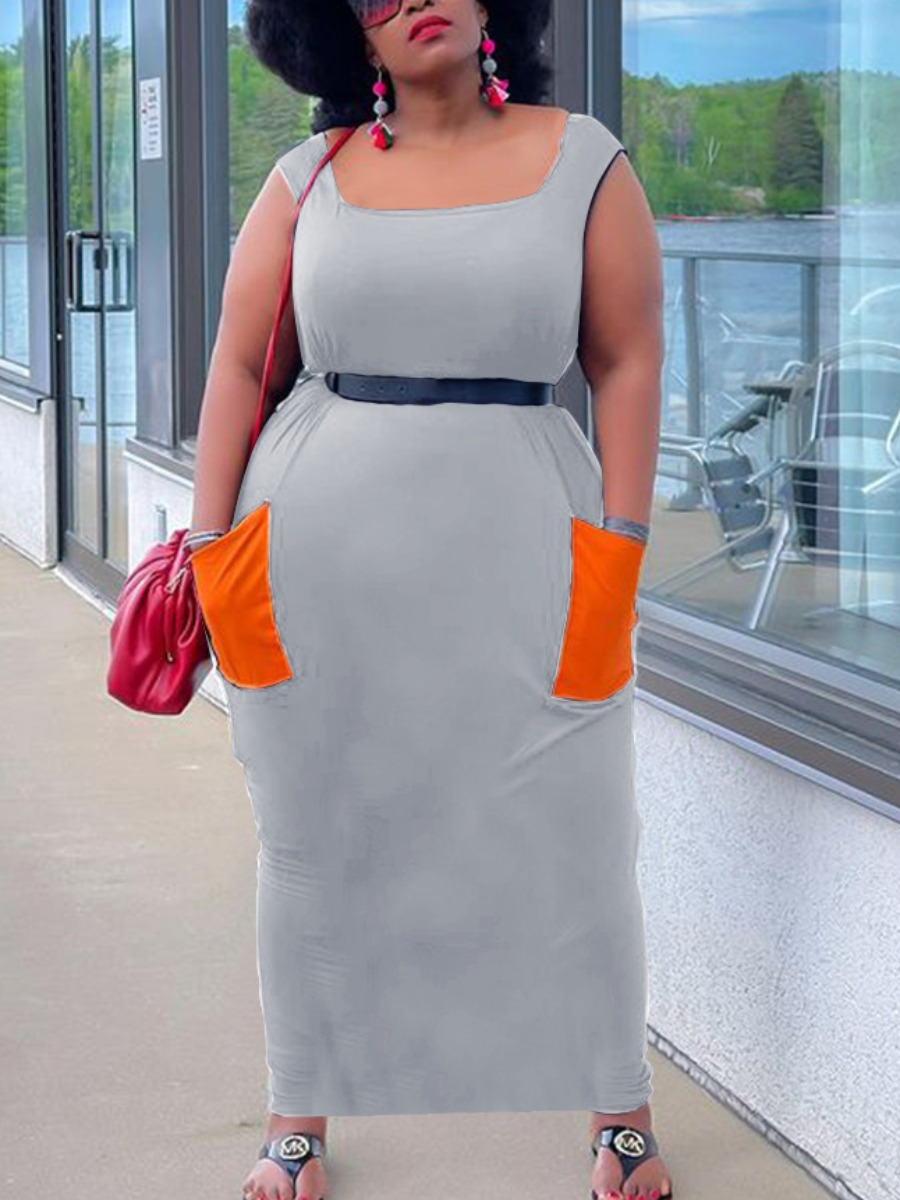 Lovely Plus Size Casual Color-lump Pocket Design Grey Ankle Length Dress (Without Belt)