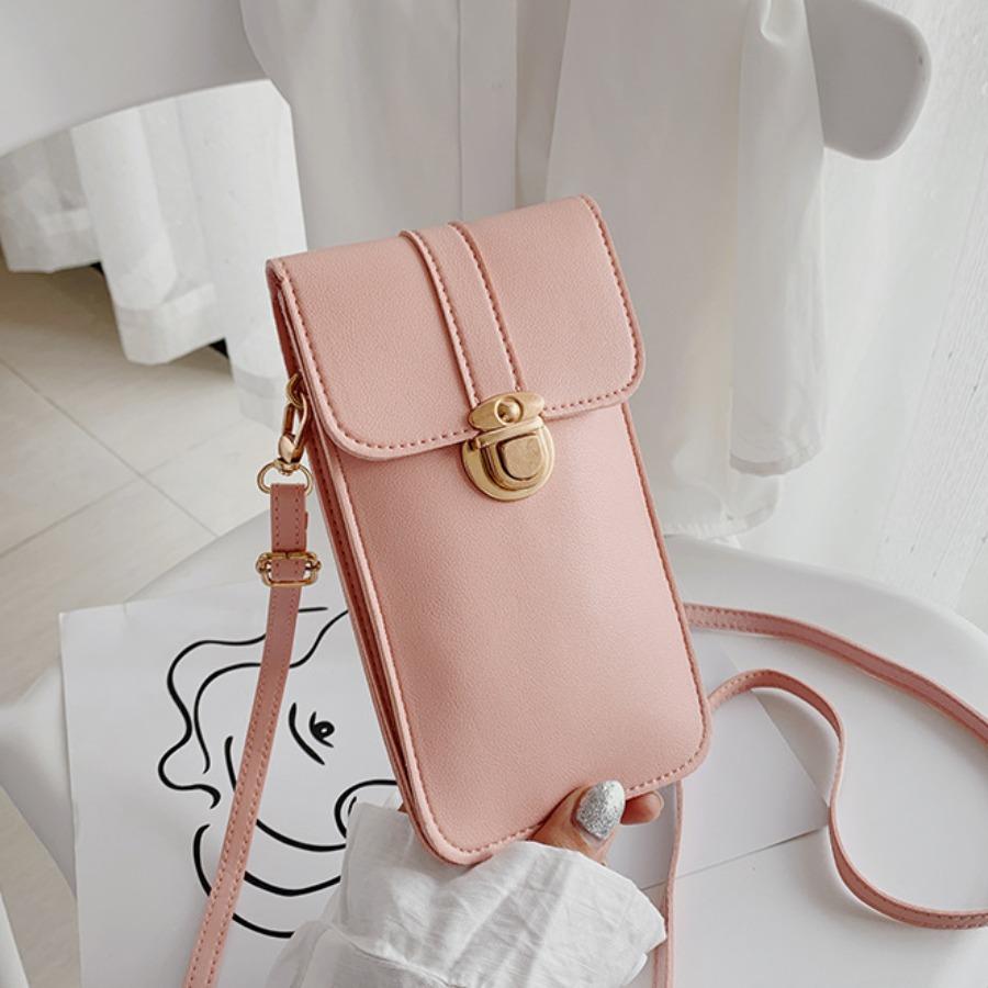 LW Casual Metal Buckle Metal Accessories Decoration Pink Crossbody Bag