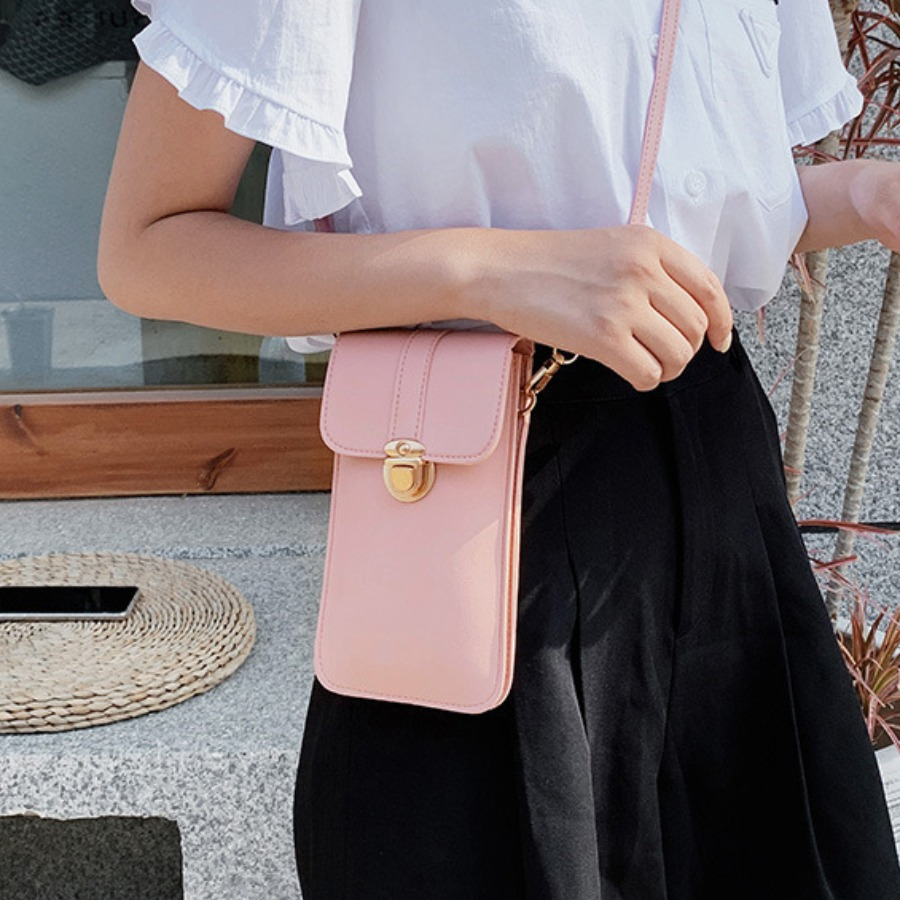 Lovely Casual Metal Buckle Metal Accessories Decoration Pink Crossbody Bag