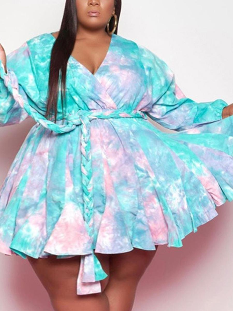 LW Plus Size Boho Tie-dye Bandage Fold Design Blue Mini A Line Dress