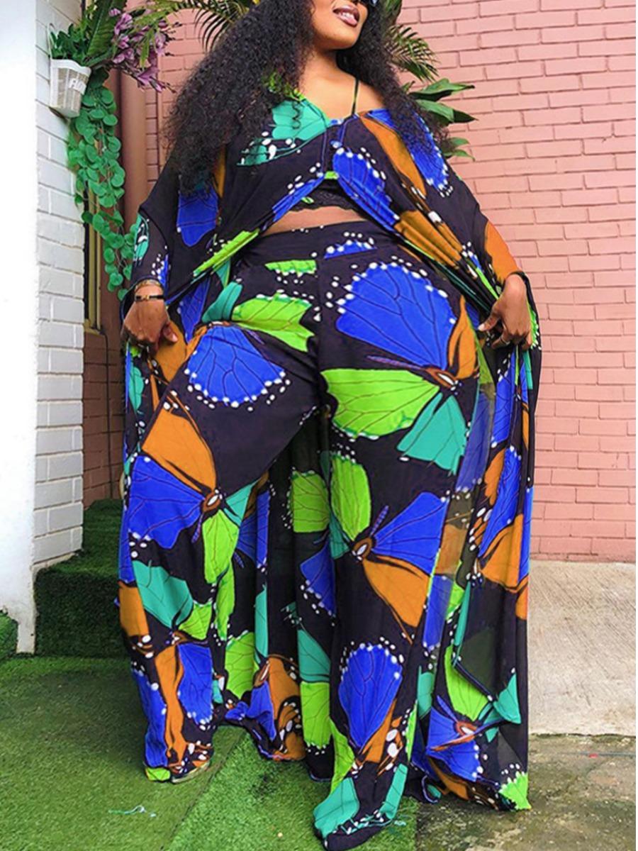 Lovely Plus Size Street V Neck Butterfly Print Blue Two-piece Pants Set