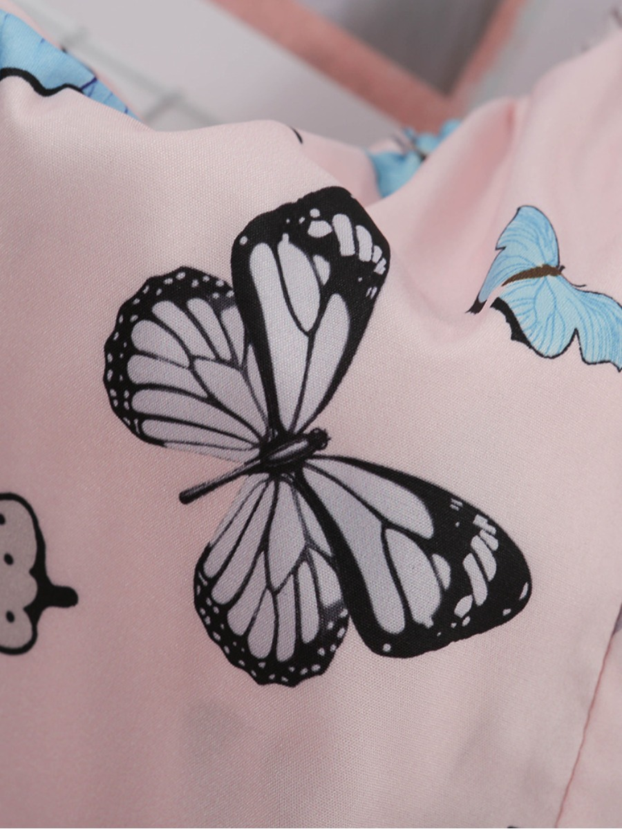 Lovely Sweet Butterfly Print Flounce Design Pink Secret Set
