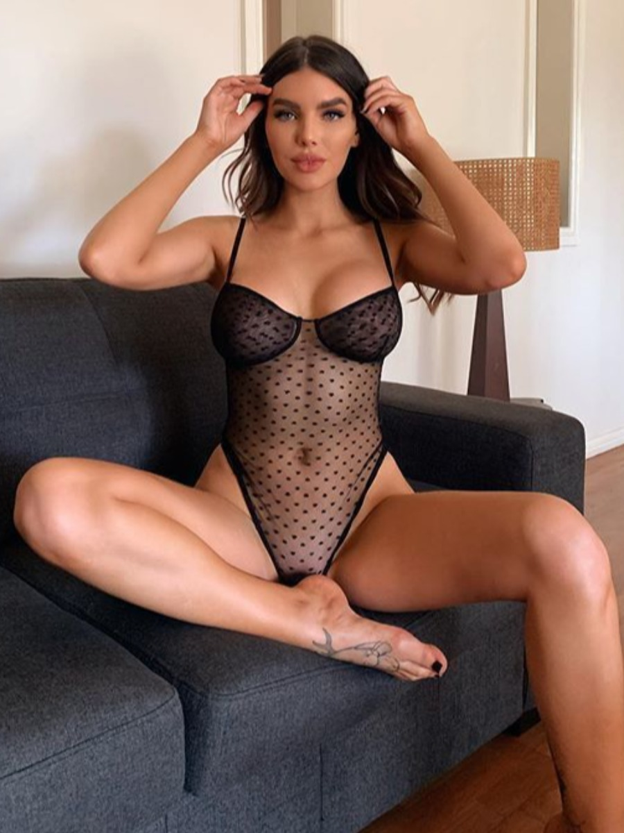 Lovely Sexy Dot See-through Black Teddies