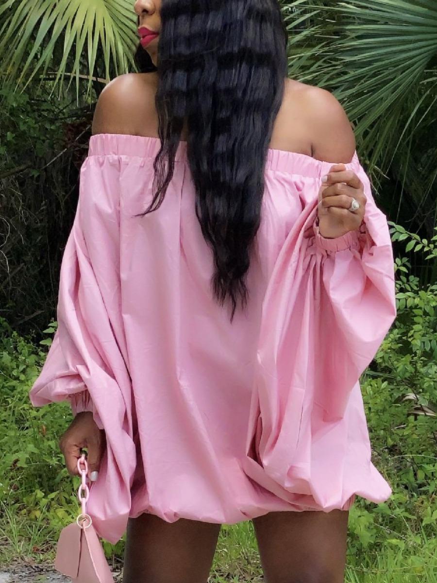 LW Sweet Off The Shoulder Fold Design Pink Mini Dress
