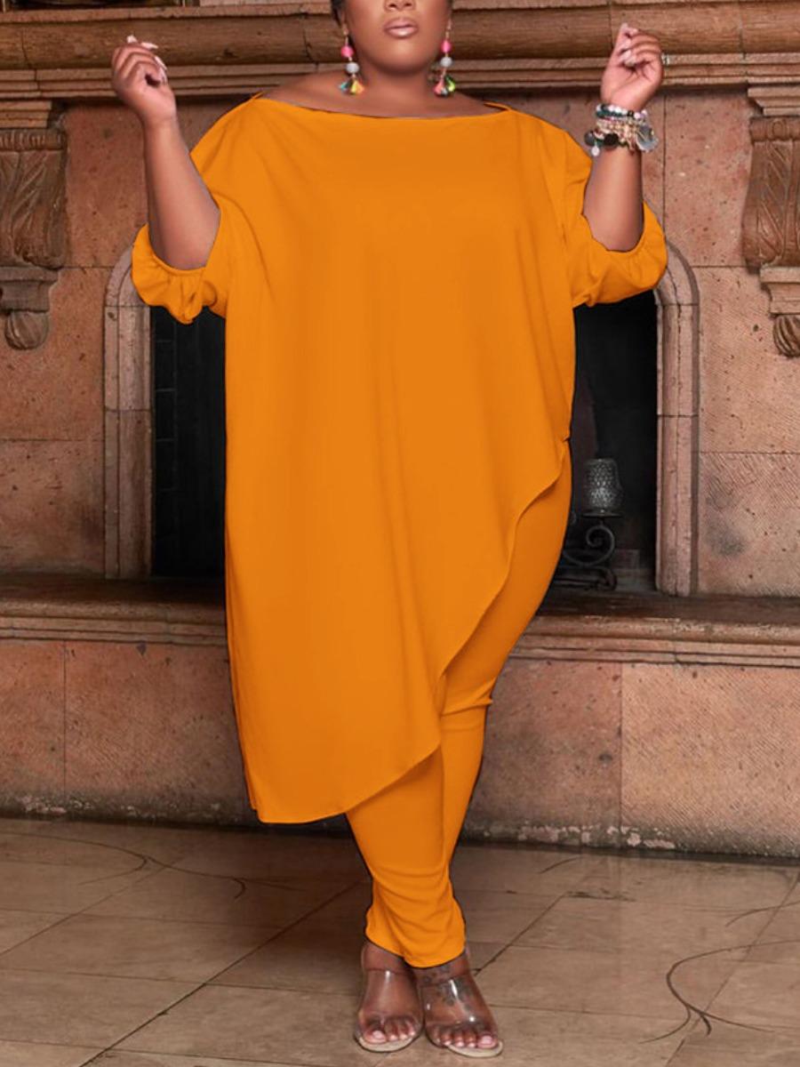 Lovely Plus Size Casual Off The Shoulder Asymmetrical Croci Two-piece Pants Set