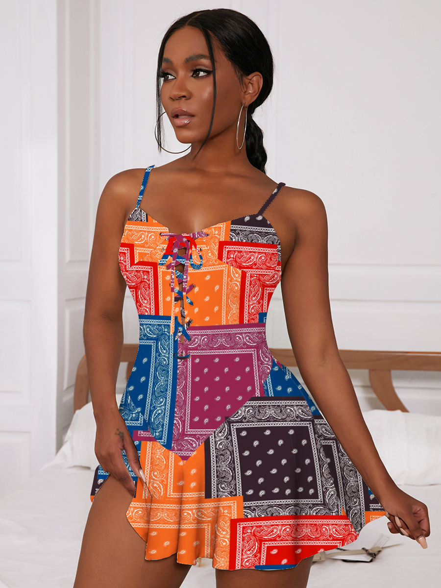 LW SXY Geometric Print Flounce Design Multicolor Mini A Line Dress