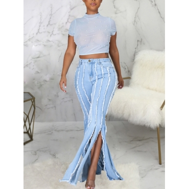 LW Casual High-waisted Tassel Design Baby Blue Jeans