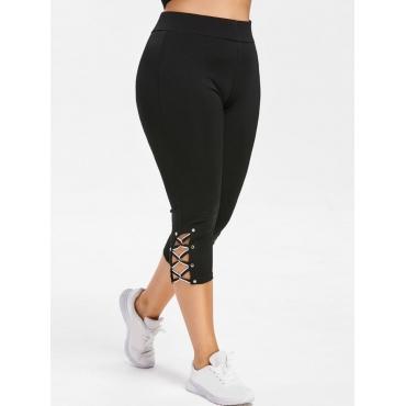 LW Plus Size Sporty Bandage Hollow-out Design Black Pants