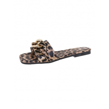 LW Casual Leopard Print Chain Decoration Slippers