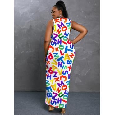 LW BASICS Plus Size Casual U Neck Letter Print White Floor Length Dress