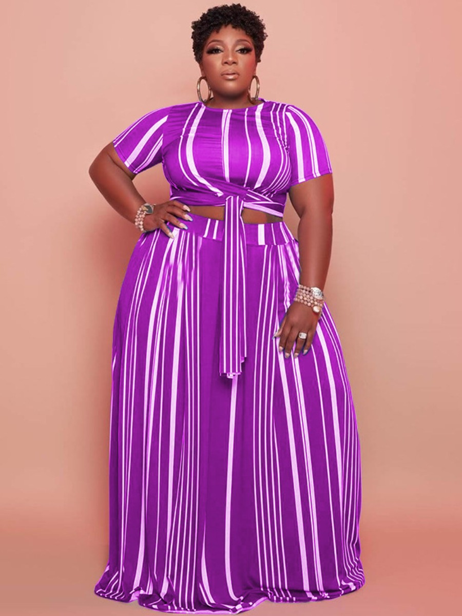 LW Plus Size Striped Bandage Design Two-piece Skirt Set