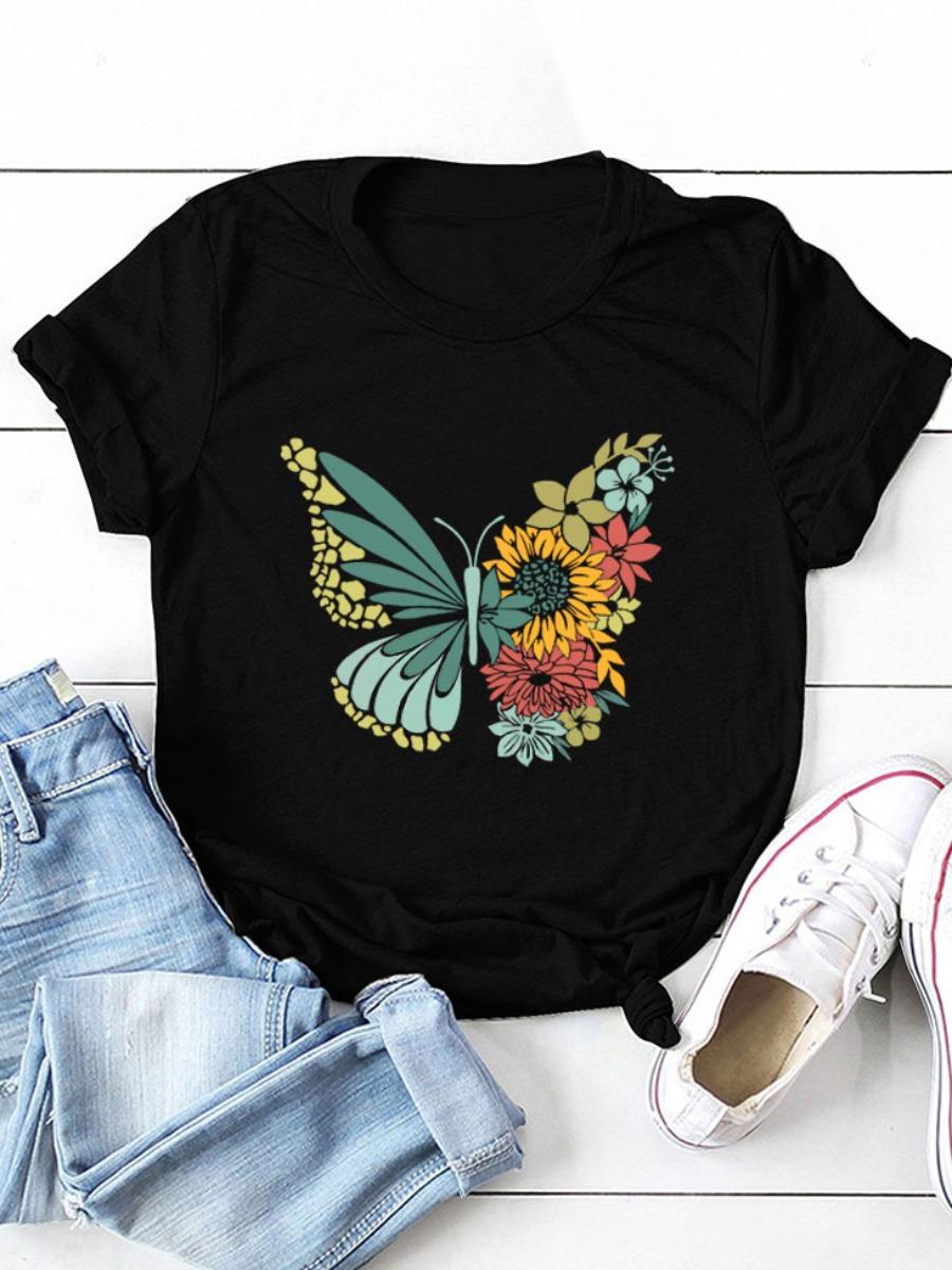 Lovely Floral Butterfly Print T-shirt