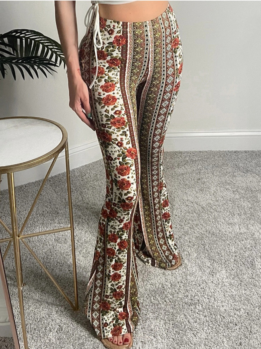 Lovely Geometric Floral Print Flared Pants