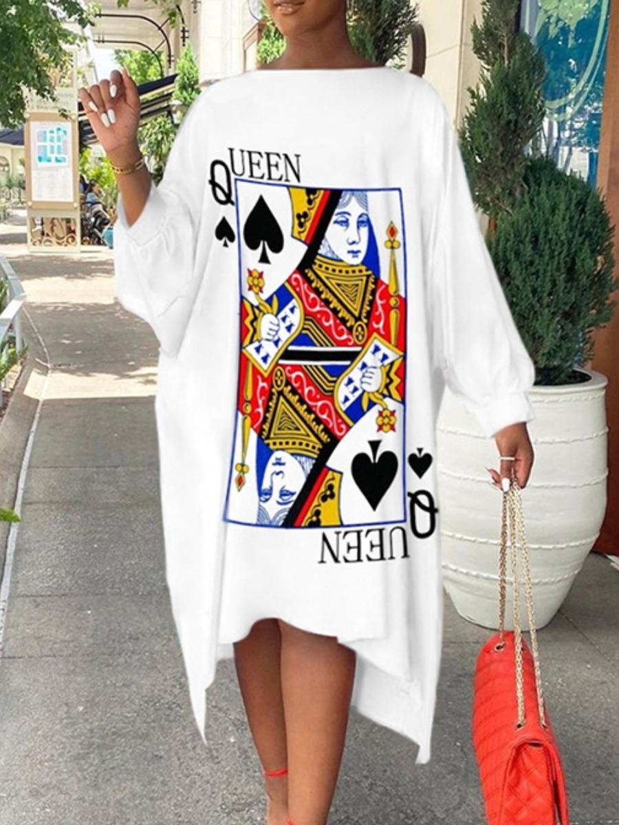 LW Dropped Shoulder Poker Letter Print Dress
