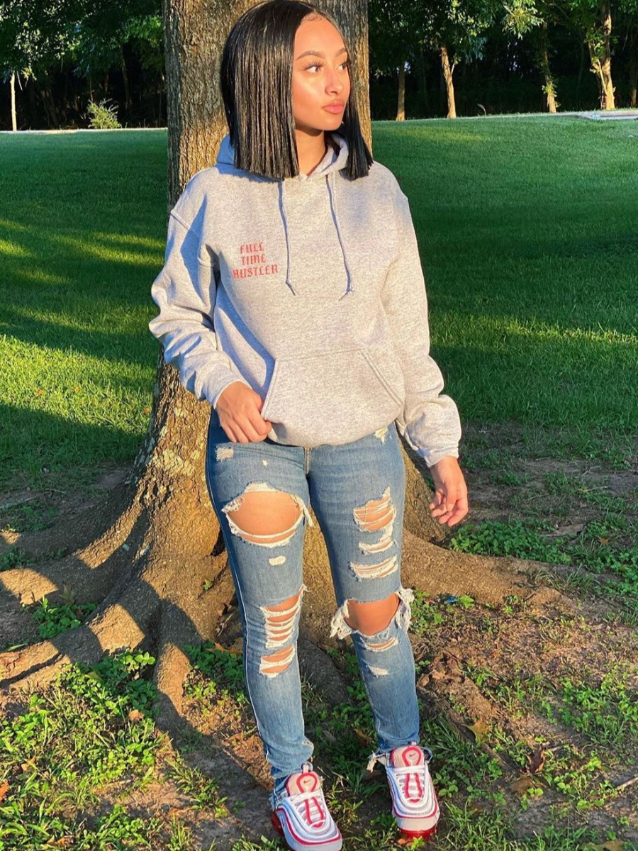 LW Hooded Collar Letter Print Oversized Hoodie
