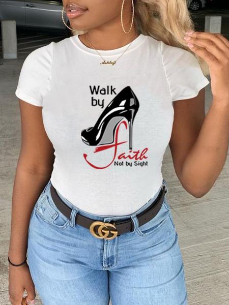Lovely Shoe Letter Print T-shirt