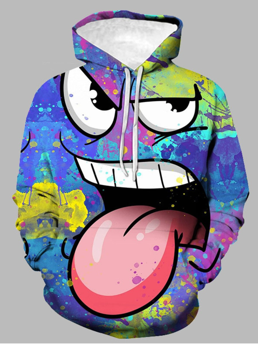 LW Men Tie-dye Cartoon Print Oversized Hoodie