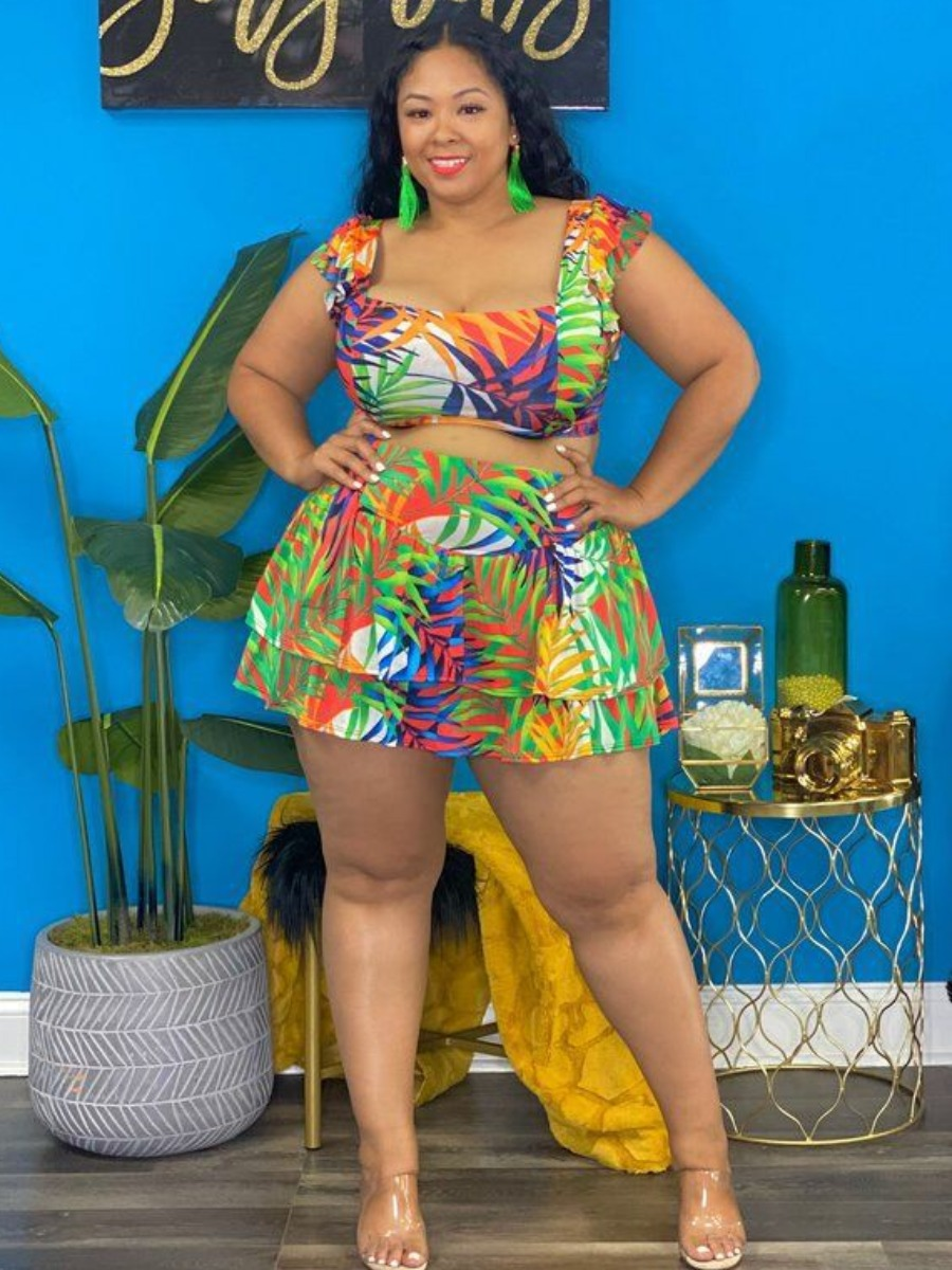LW Plus Size Floral Print Layered Cascading Skirt Set