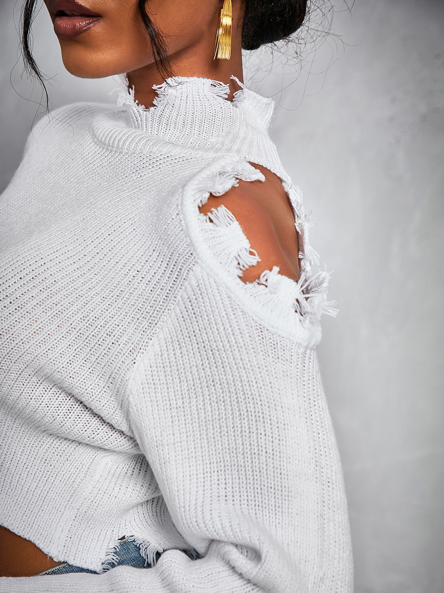 Lovely Stylish Turtleneck Hollow-out White Sweater