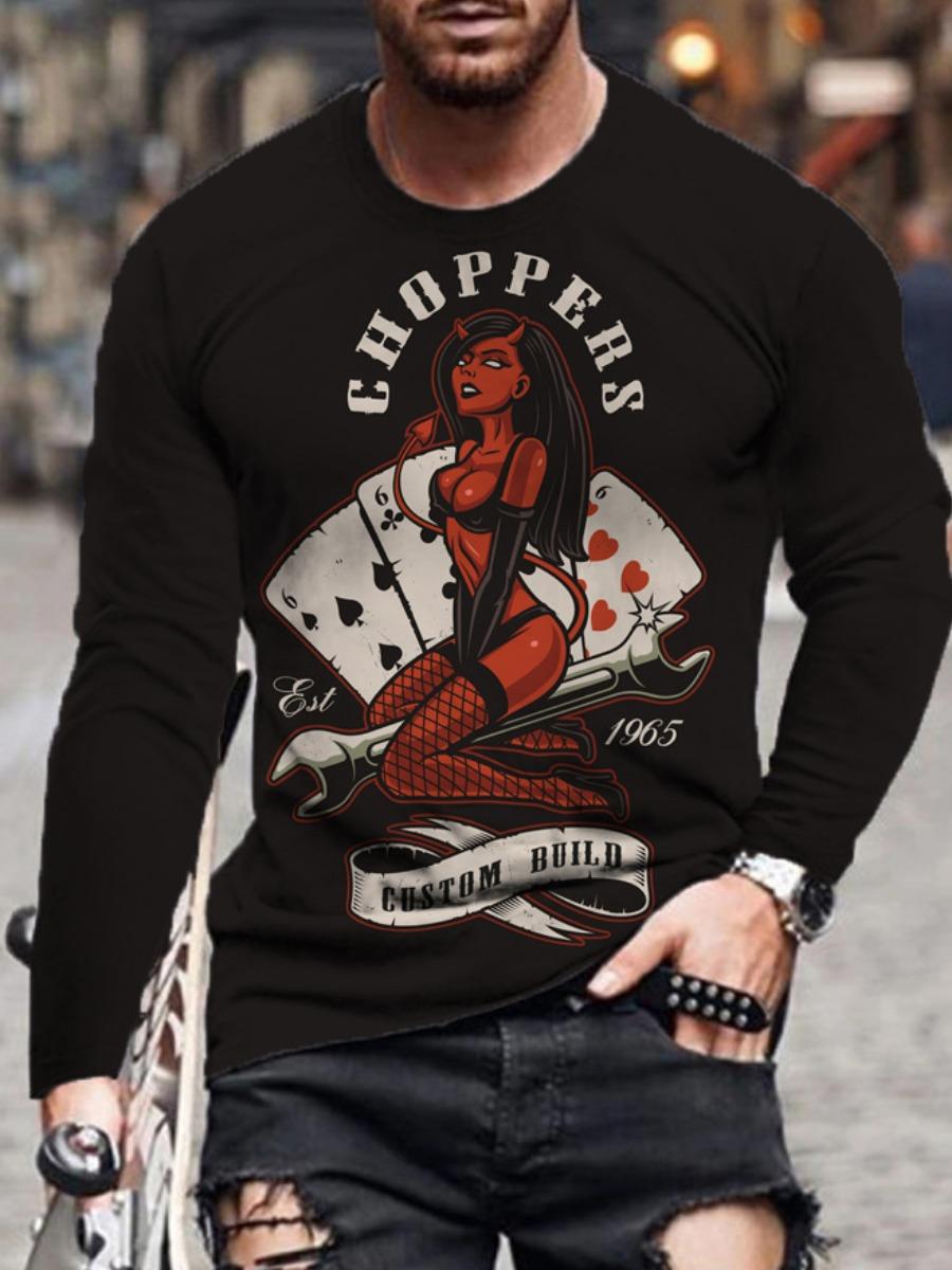 LW Men Poker Letter Print T-shirt
