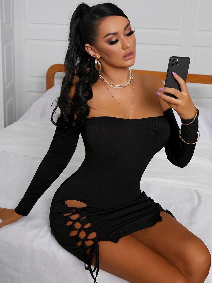 LW SXY  Off The Shoulder Bandage Hollow-out Design Black Mini Dress