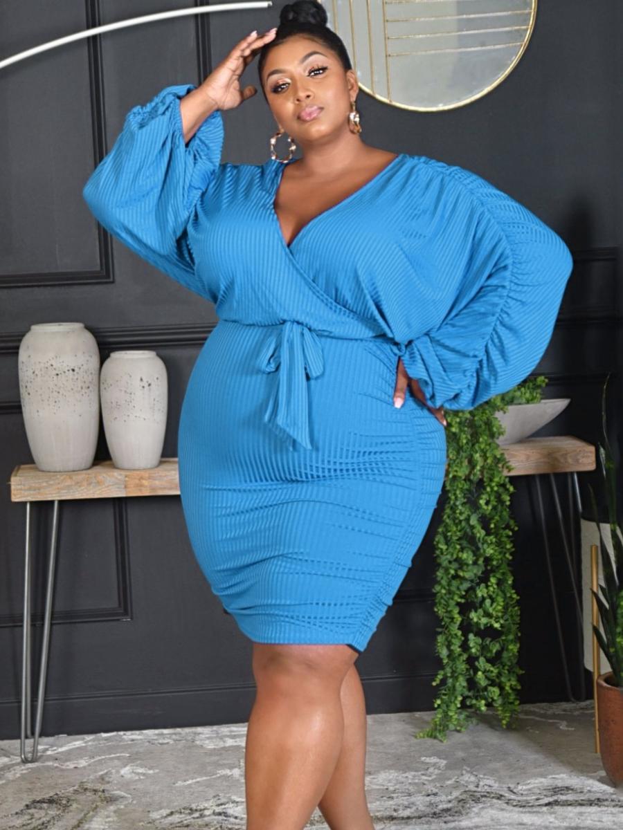LW Plus Size Ruched Bandage Design Dress