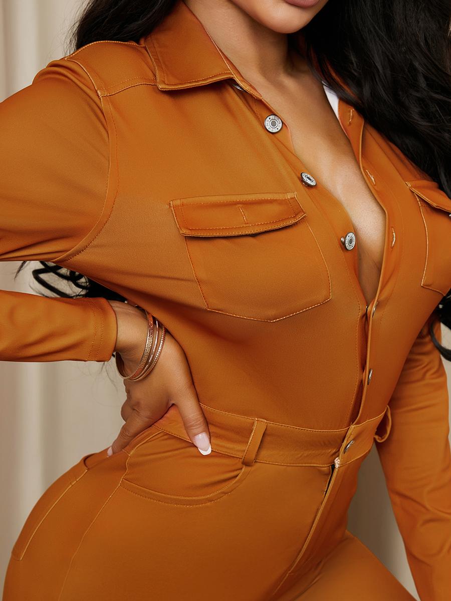 LW Stylish Turndown Collar Buttons Design Brown One-piece Jumpsuit