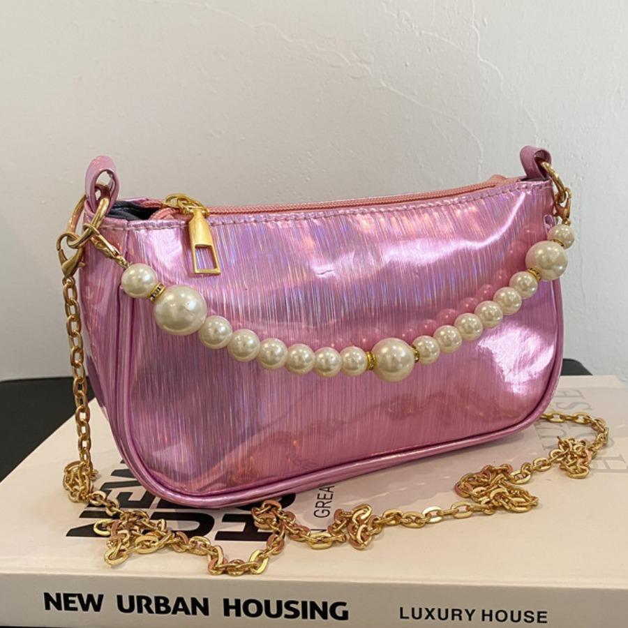 LW Pearl Decoration Chain Strap Crossbody Bag