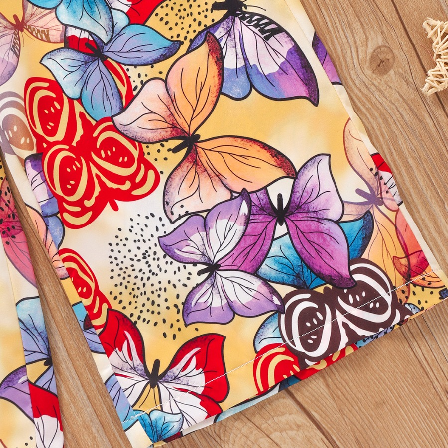 LW Girl Floral Print Flounce Design Pants Set