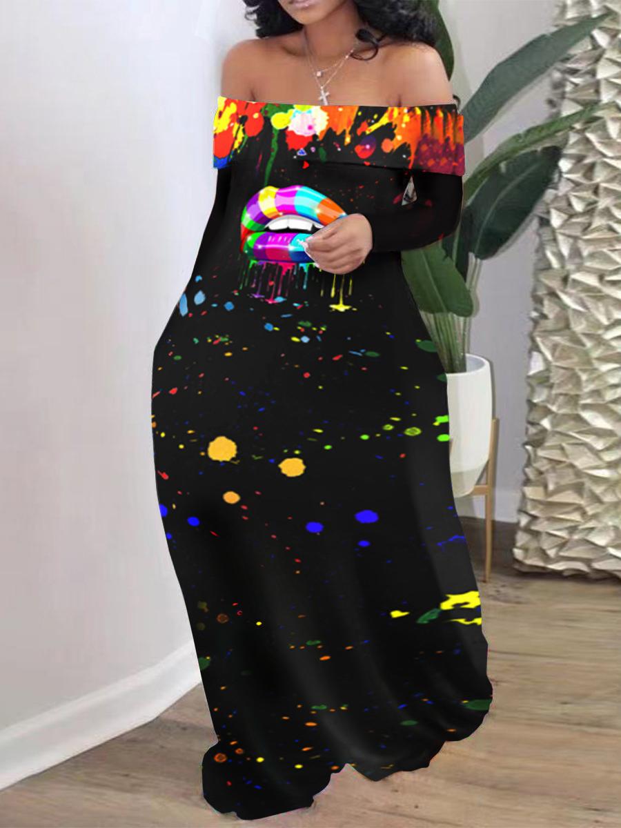 LW Plus Size Off The Shoulder Splash-ink Design Dress