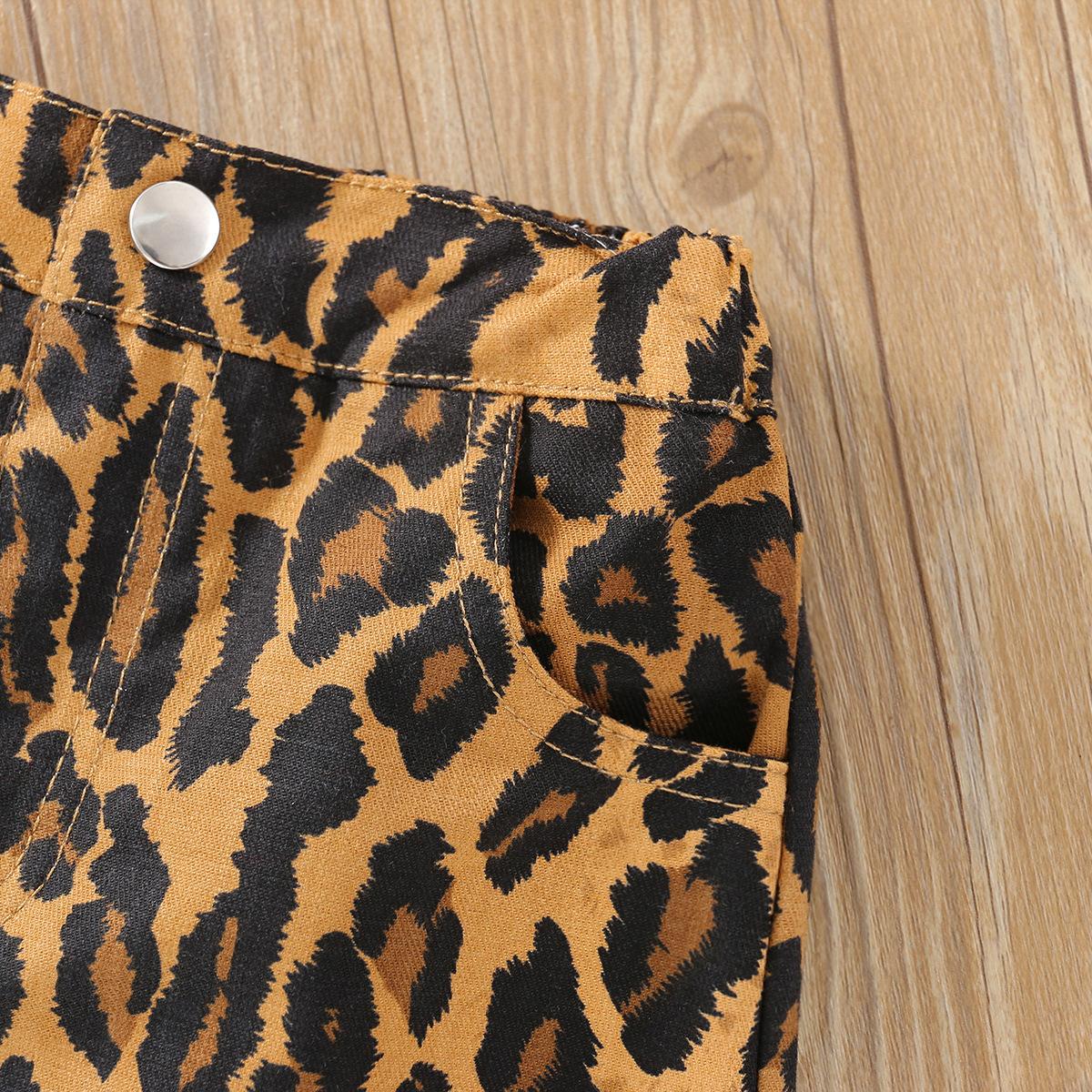 LW COTTON Girl Leopard Print Flounce Design Two Piece Skirt Set