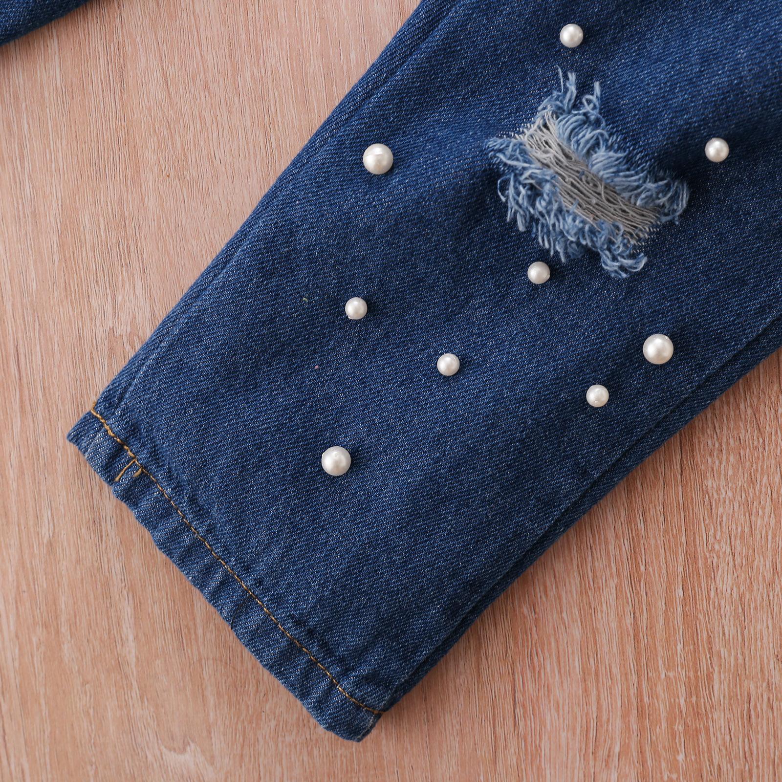 LW COTTON Girl Leopard Print Pearl Decoration Pants Set