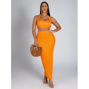 LW SXY Backless Orange Two Piece Skirt Set