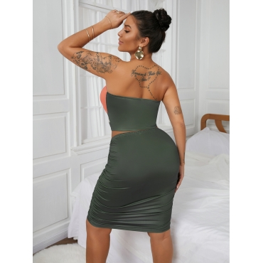 Lovely Off The Shoulder Hollow-out Ruched Two Piece Skirt Set