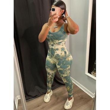 LW U Neck Tie-dye Two Piece Pants Set
