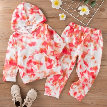 LW COTTON Girl Tie-dye Kangaroo Pocket Two Piece Pants Set