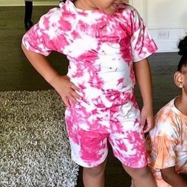 LW COTTON Girl Round Neck Tie-dye Two Piece Shorts Set