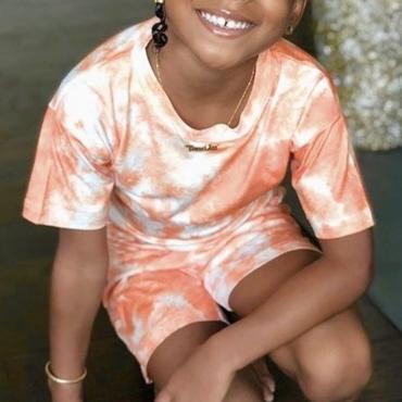 LW COTTON Girl Scoop Neck Tie-dye Two-piece Shorts Set