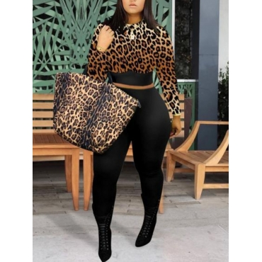 LW Round Neck Leopard Print Two-piece Pants Set