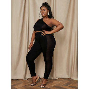LW Plus Size One Shoulder See-through Two-piece Pants Set