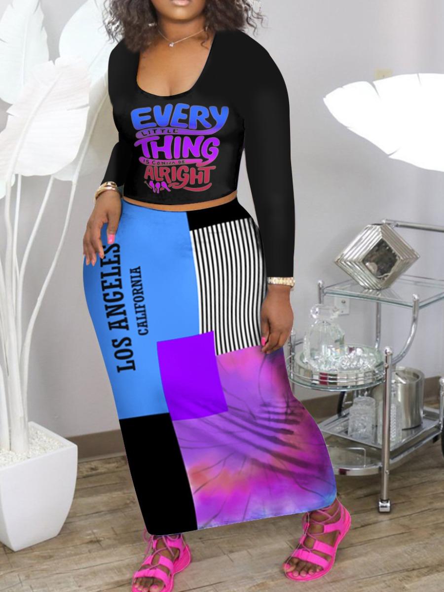 LW Plus Size Letter Print Tie-dye Dress