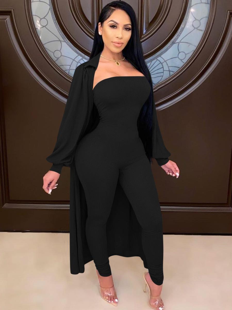LW Ruffle Design Basic Skinny Jumpsuit Set